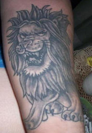 Grey Ink Lion Tattoo On Arm