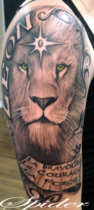 Half Sleeve Lion Face Tattoo Design