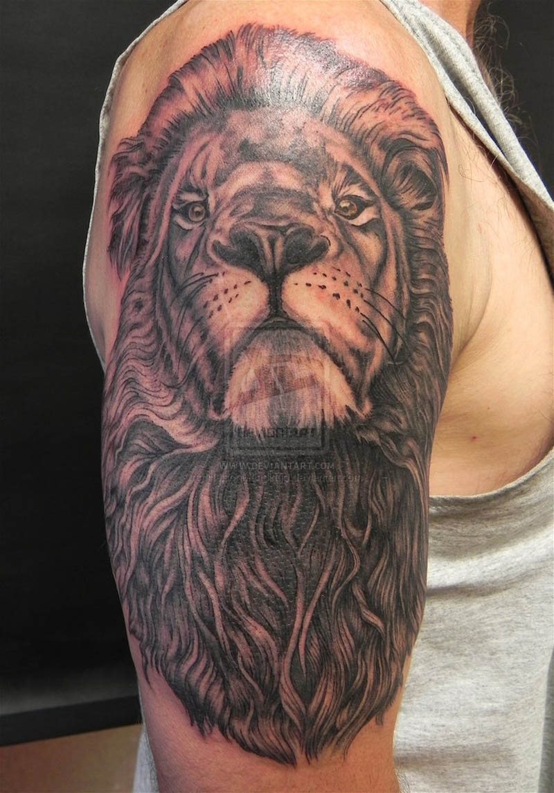 Half Sleeve Lion Head Tattoo For Men