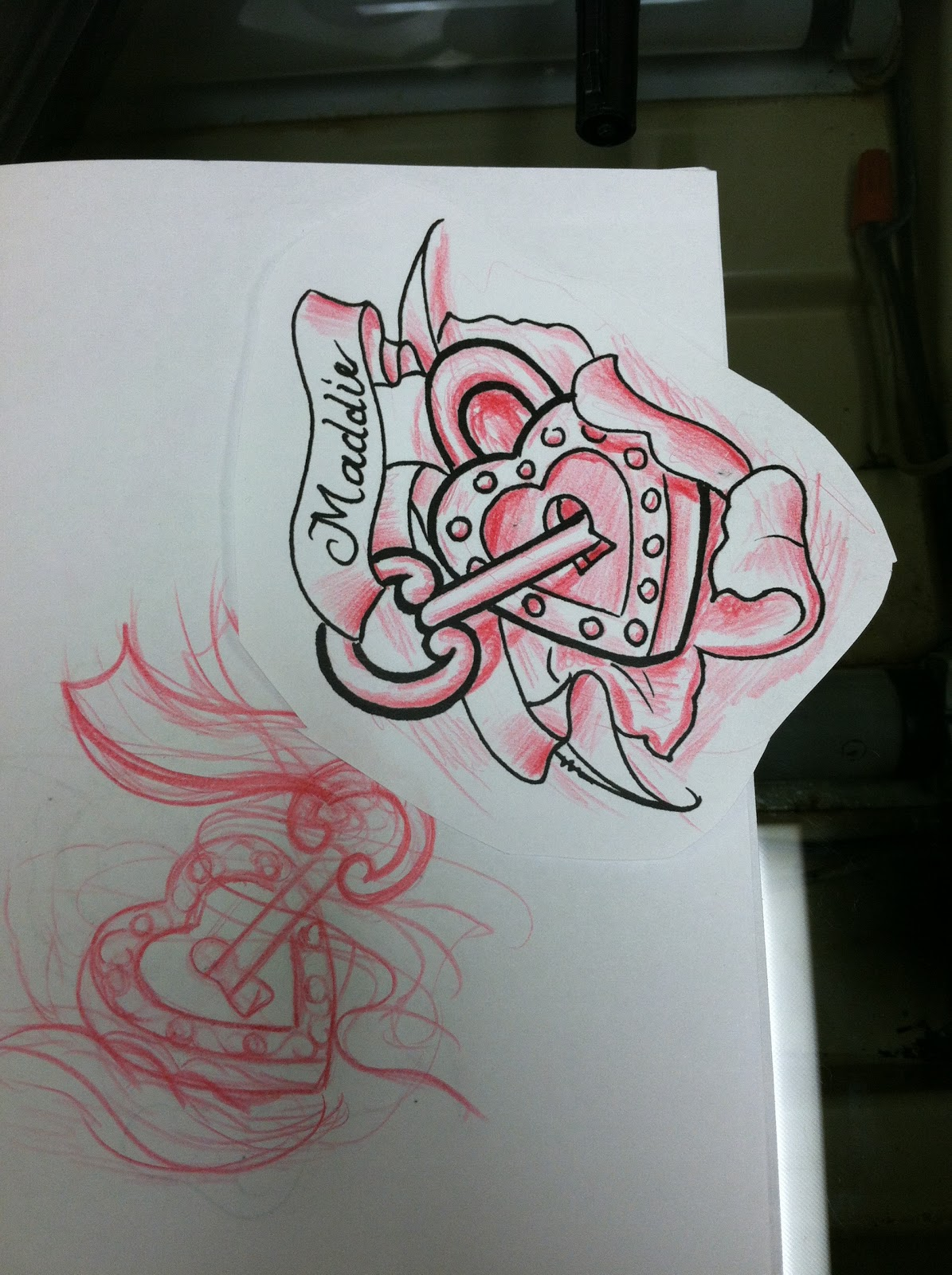 Heart Lock Key Banner Tattoo Sketch