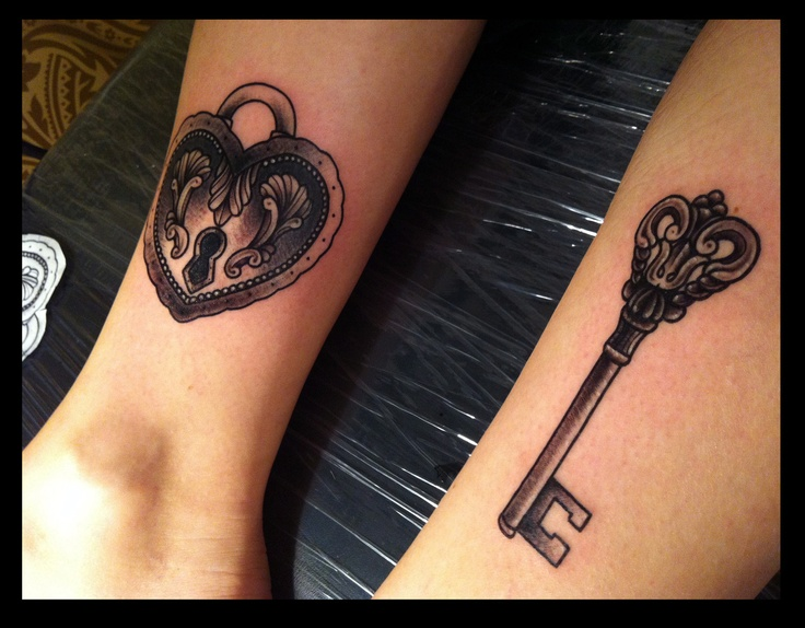 Heart Lock Key Couple Tattoo Design