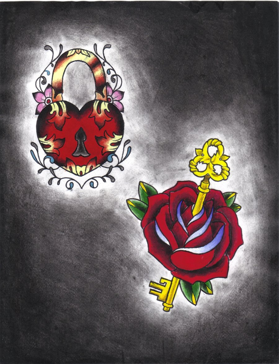 Heart Lock n Key Rose Tattoo Flash