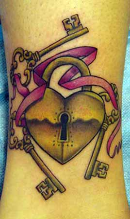 Heart Lock n Key Tattoo Designs