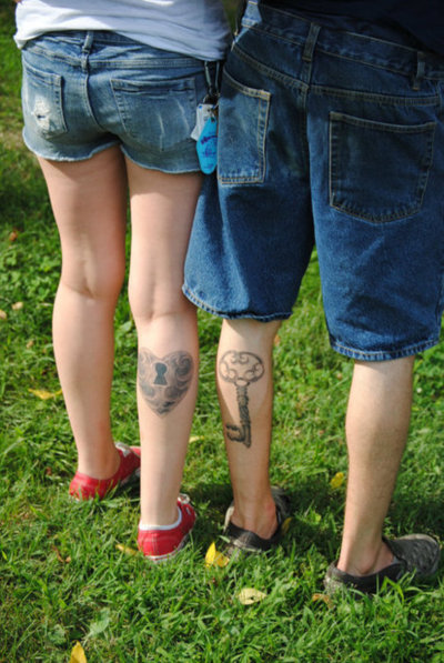 Heart Lock n Key Tattoo On Back Legs For Couple