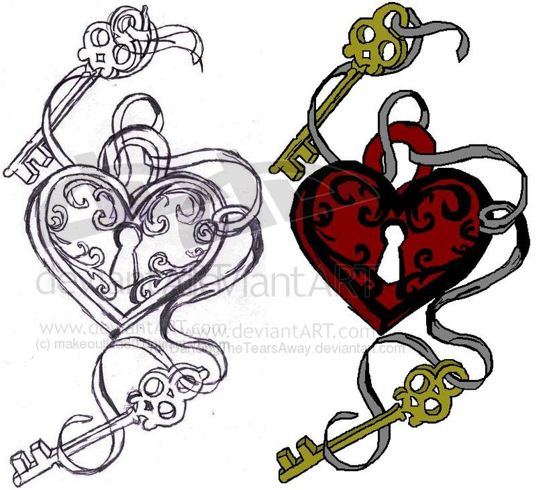 Heart Lock n Skull Keys Tattoo Pack