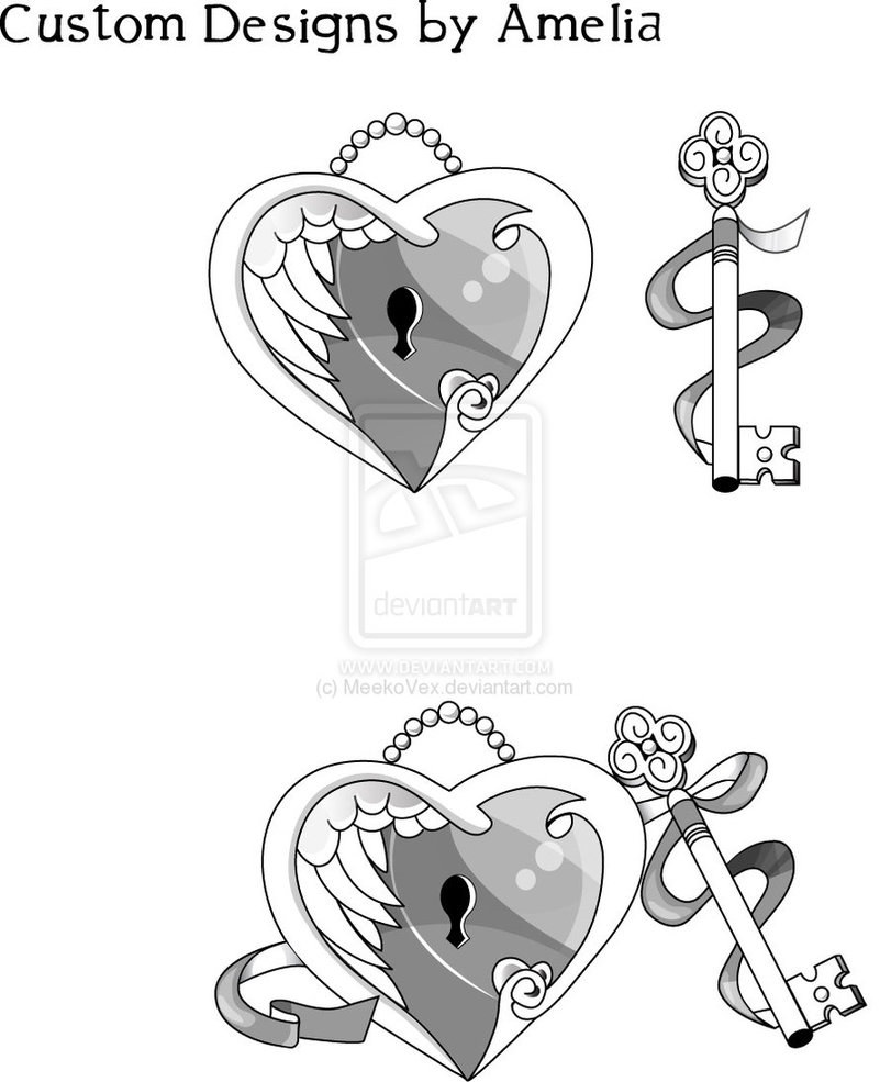 Heart Locket n Key Tattoo Pack