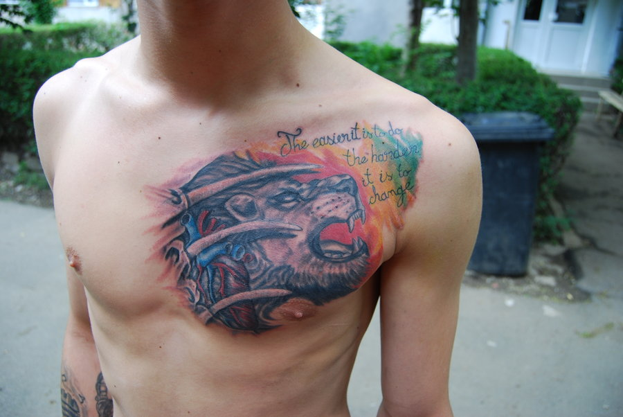 Heart Of A Lion Tattoo On Chest For Men
