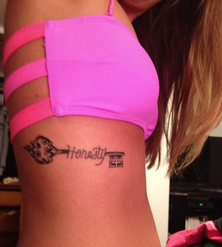 Honesty Key Tattoo On Ribs