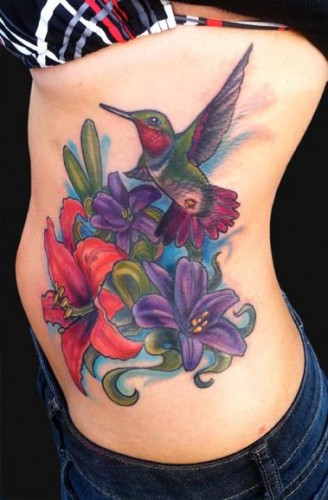 Hummingbird n Lily Flowers Tattoo On Rib Side