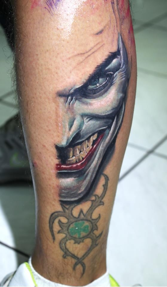 Insane Joker Face Tattoo Design