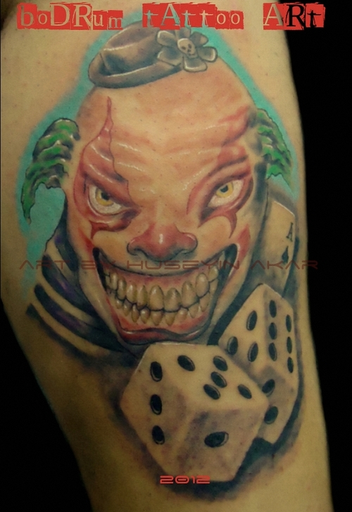 Insane Joker n Dice Tattoo Design