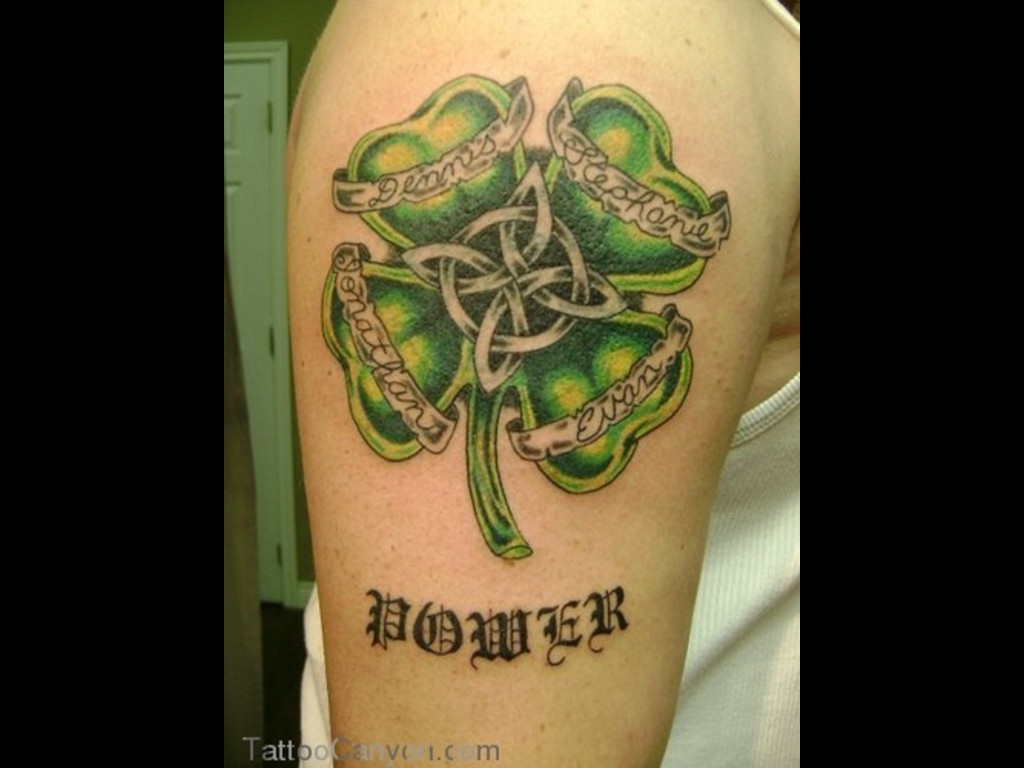 Irish Four Leaf Clover Tattoo On Shoulder