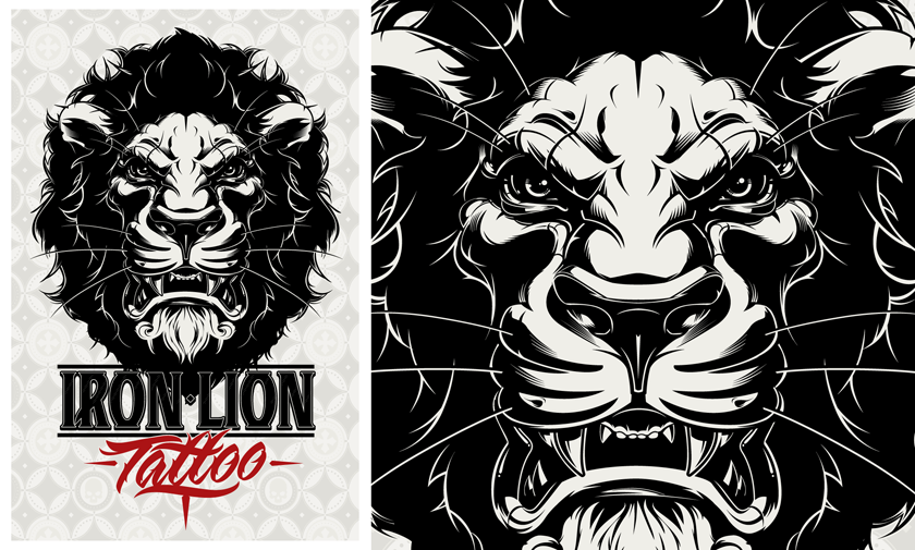 Iron Lion Tattoo Designs