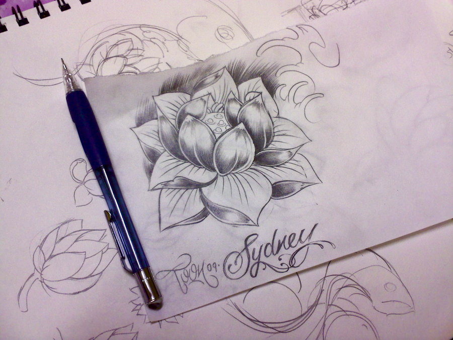 Japanese Water Lily Tattoo Sketch