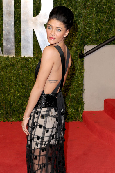 Jessica Szohr Lettering Tattoo On Side