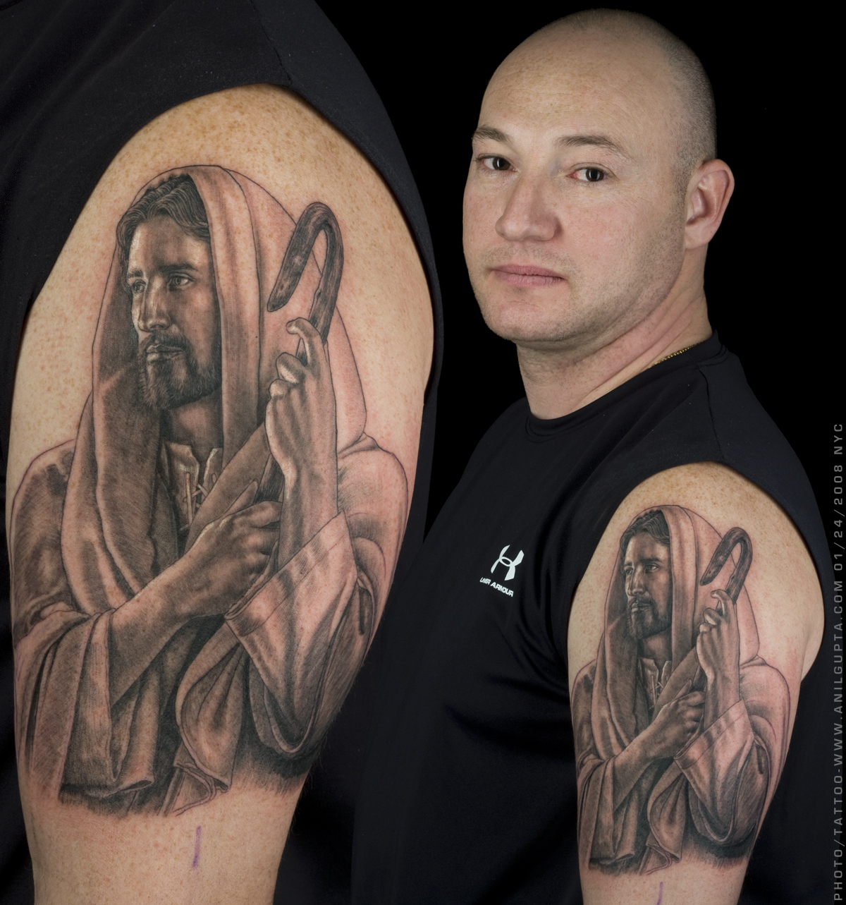 Jesus Portrait Tattoo On Biceps For Men