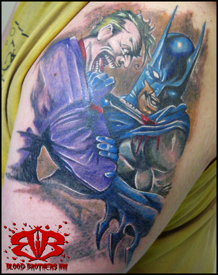 Joker And Batman Tattoo Design