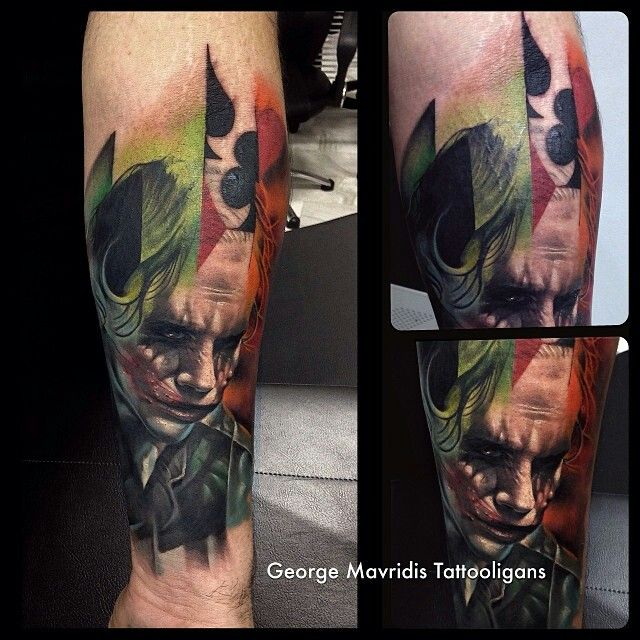 Joker Face Portrait Tattoo Design