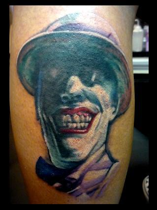 Joker Face Portrait Tattoo Image