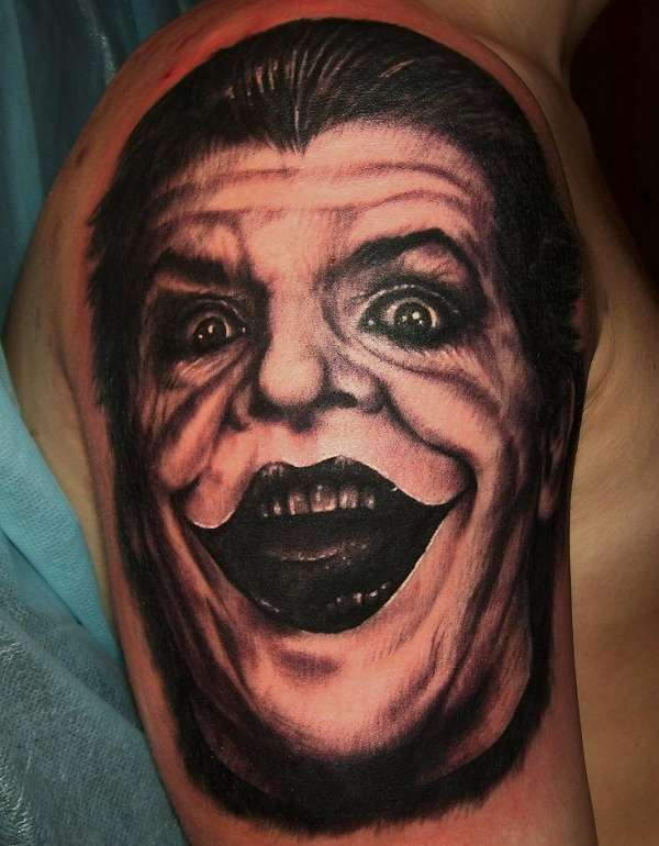 Joker Face Portrait Tattoo On Arm