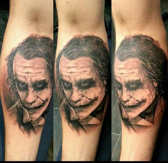 Joker Face Portrait Tattoo On Leg