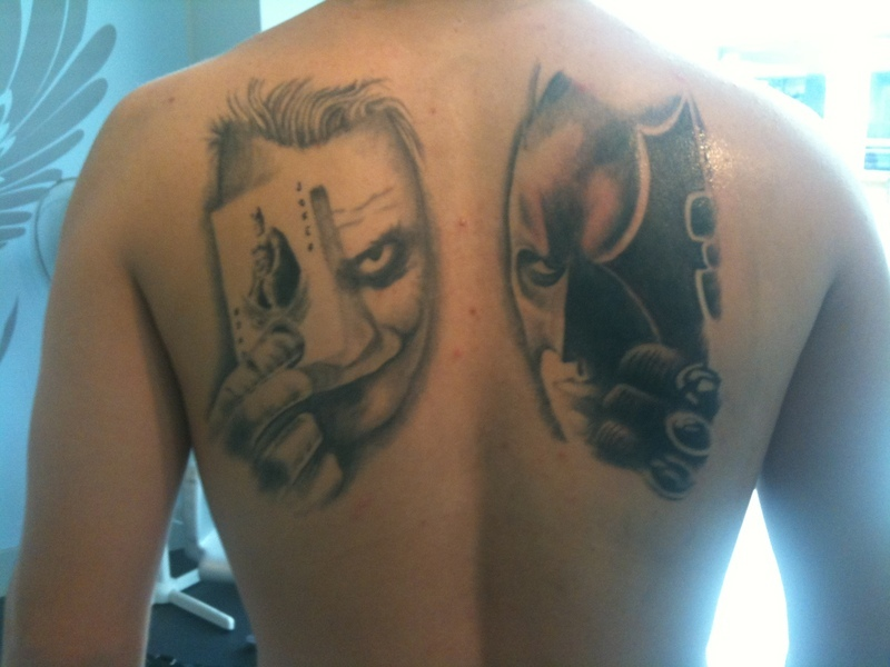 Joker n Batman Tattoo On Back For Men