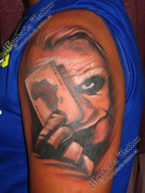 Joker n Playing Card Tattoo On Arm