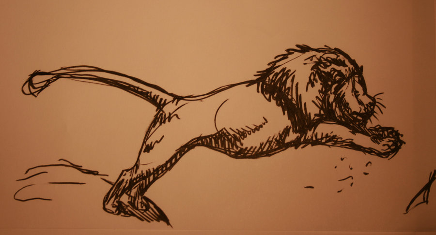Jumping Lion Tattoo Design