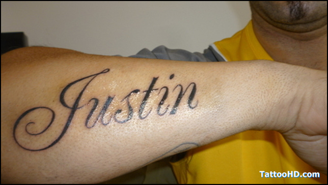 Justin Lettering Tattoo On Arm