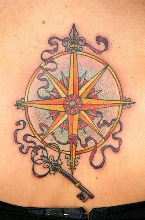 Key And Compass Tattoo Design