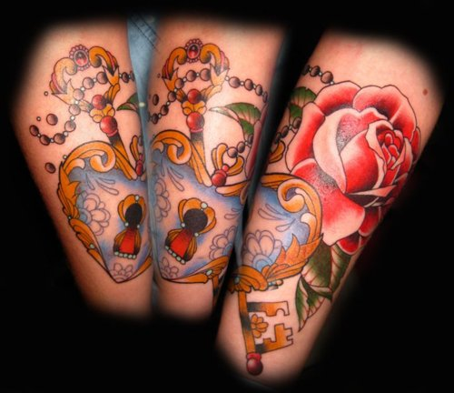 Key Lock n Rose Tattoo Design