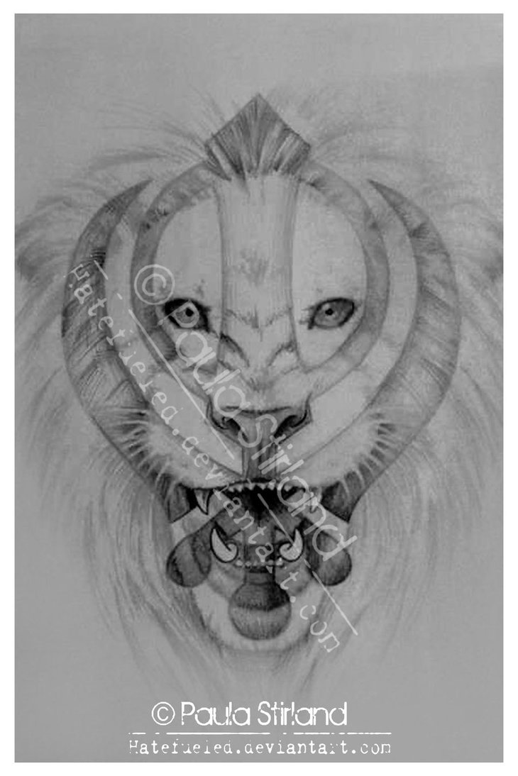 Khanda Lion Tattoo Sketch