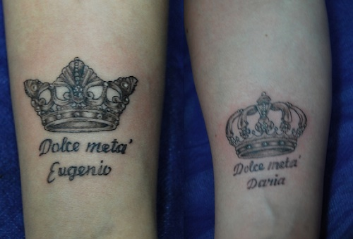 King And Queen Crown Couple Tattoo Design