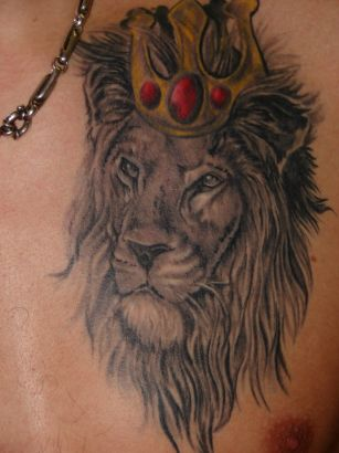 King Lion Head Tattoo On Chest