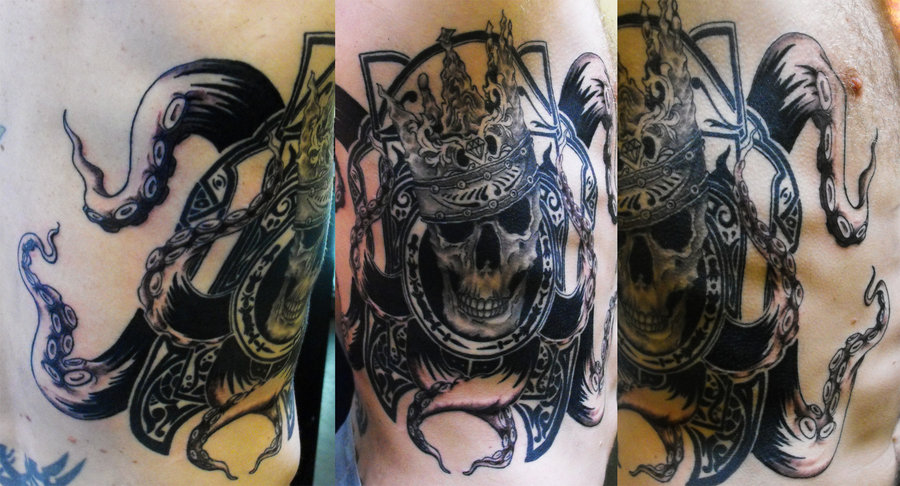 King Skull Opus Tattoo Design