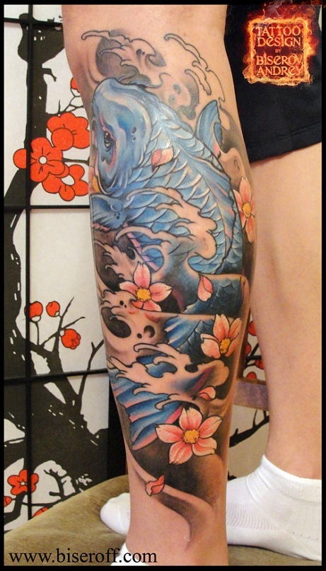 Koi Fish And Waves Leg Tattoo Designs