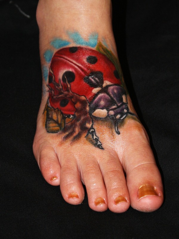 Ladies Favorite Ladybug Tattoo Design