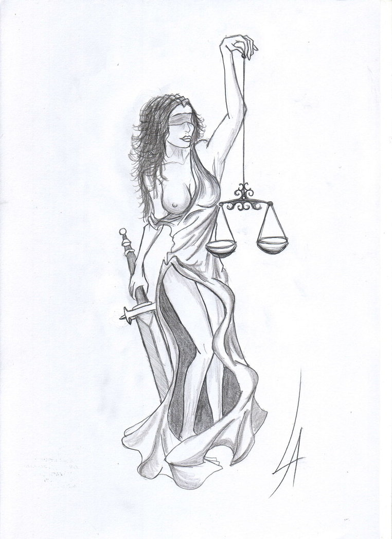 Lady Justice With A Sword n Scales Tattoo Design