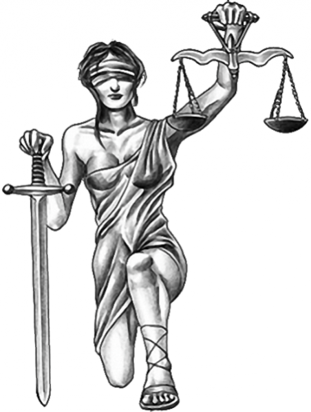 Lady Justice With Sword n Scales Tattoo Design