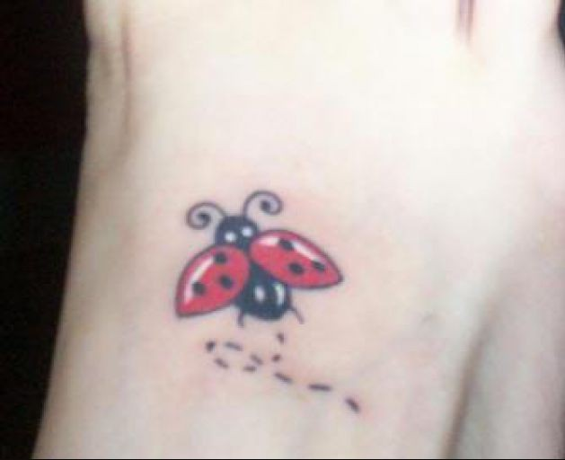 Ladybug Tattoo For Foot