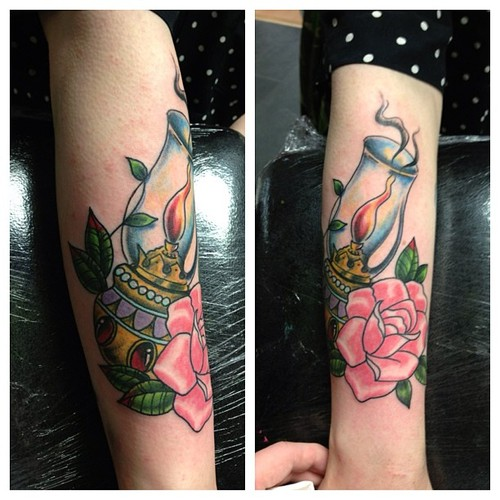 Lamp n Pink Rose Tattoo On Arm