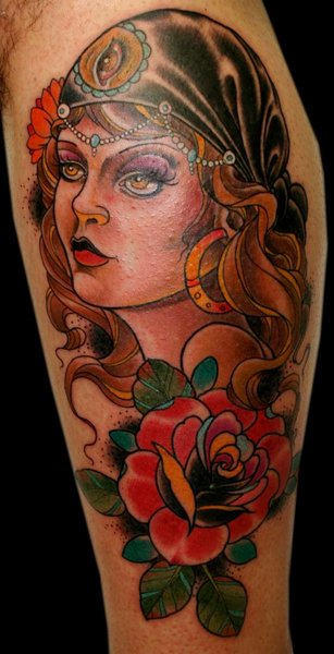 Latino Girl Tattoo With Roses