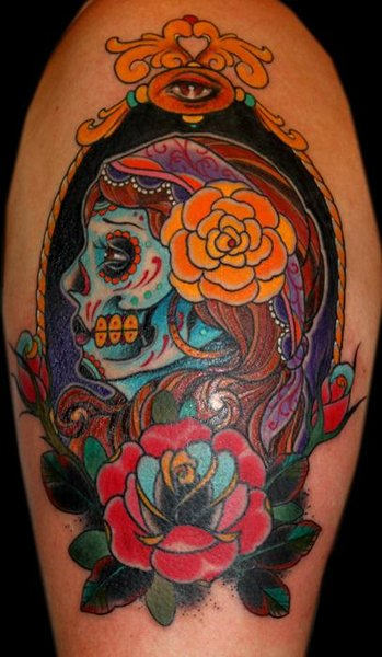 Latino Skull Tattoo With Roses