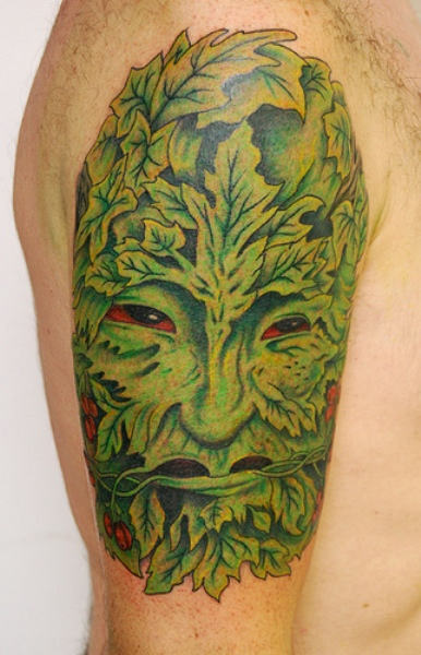 Leaf Man Tattoo On Shoulder