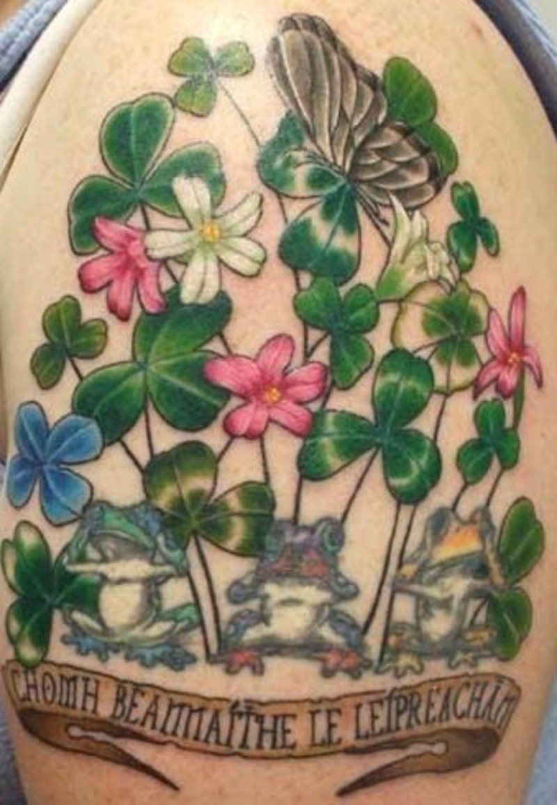 Leaves n Butterfly Tattoo On Shoulder
