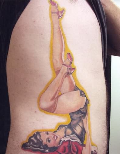 Leg Pinup Girl Tattoo Design