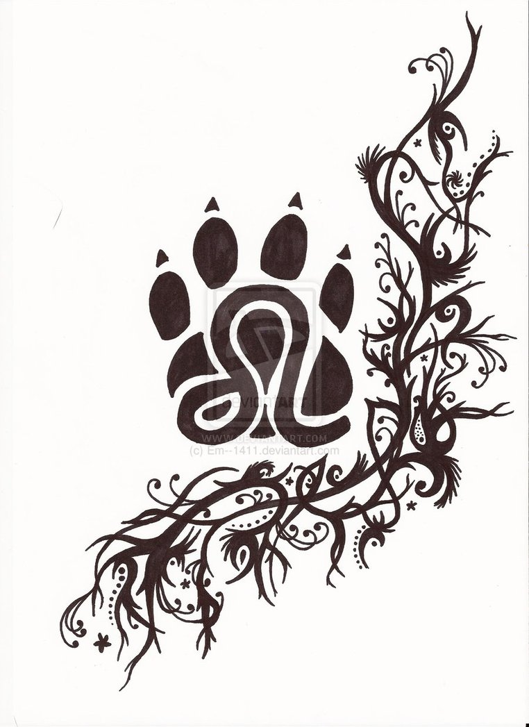 Leo Paw Print And Vine Tattoo Design