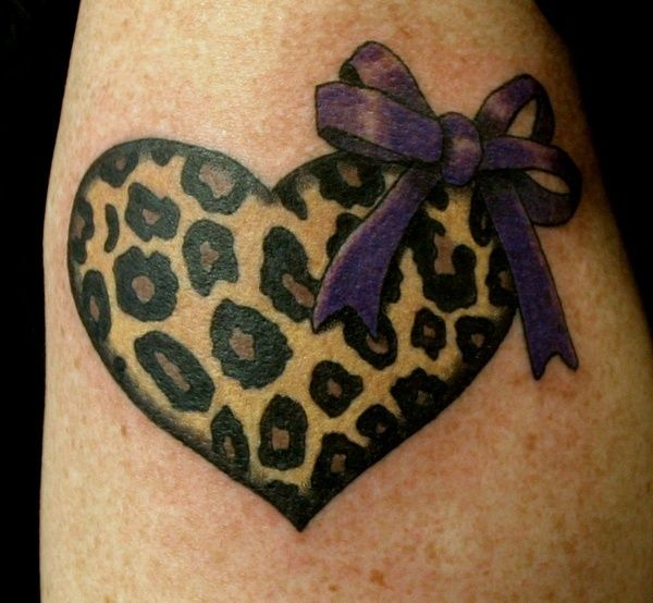 Leopard Heart Tattoo With Purple Bow