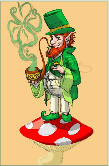 Leprechaun And Mushroom Tattoo Poster