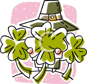 Leprechaun Hiding Behind Four Leaf Clover Tattoo Designs